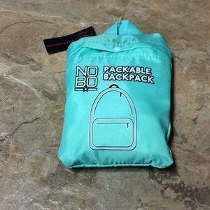 NoBo teal packable backpack NWT!